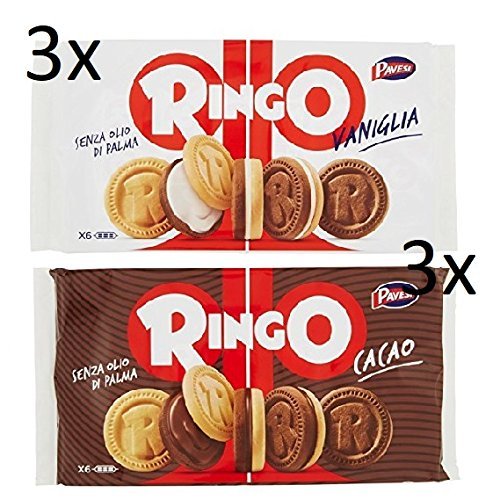 3x Pavesi Kekse Ringo 330g Kuchen mit Vanille 6 snack cookies riegel + 3x Pavesi Ringo Cacao Kakao 6 snack 330g