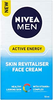 NIVEA MEN Active Energy Skin Revitaliser Face Cream Moisturiser Formulated with Chamomile, Hamamelis & Vitamin + Complex 50ml