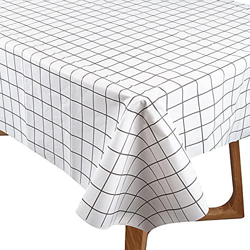 137x180cm Mantel Impermeable Cuadros Blancos Cubierta de Mesa Plástico Reutilizable Rectangular para Mesa de Comedor Oficina Banquetes Hogar Cenas Bodas Bautizo Picnics Bufé Cumpleaños Barbacoas