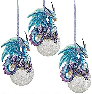 Design Toscano Christmas Tree Ornaments - Frost The Gothic Dragon Holiday Ornament: Set of Three - Snowflake Dragon Ball Ornament