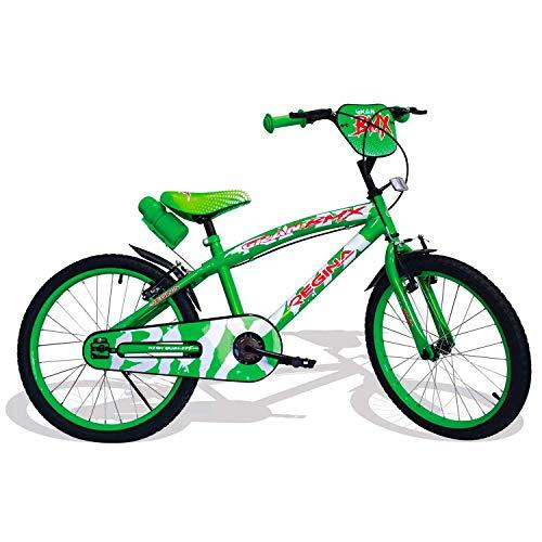 Mediawave Store - Regina BMX GVC-5425 Bicicletta per Bambini Misura 20 con 2 Freni, Bici per Bambini con rotelle, 6-7 Anni, Bicicletta per Bambini Piccoli, Bici BMX con Borraccia (Verde)