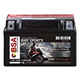 BSA AGM Motorradbatterie 6AH 105A/EN 12V YTX7A-BS Erstausrüsterqualität trocken vorgeladen inkl. Säurepack total wartungsfreie Starterbatterie