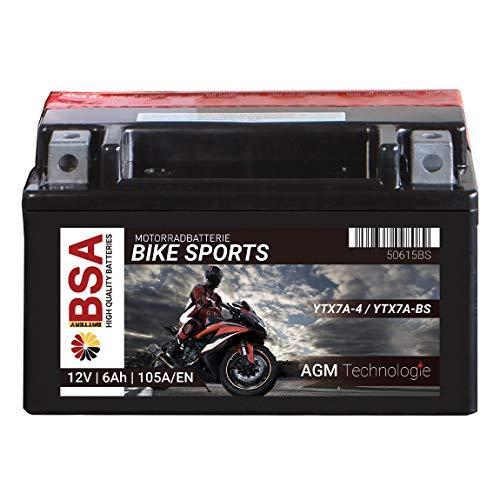 BSA AGM Motorradbatterie 6AH 105A/EN 12V YTX7A-BS Erstausrüsterqualität total wartungsfreie Starterbatterie