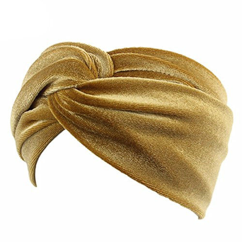 TININNA Turbante Hat Mujer, Diadema Turbante de Terciopelo Dorado Torsión Estampado Elástico Cinta Cabeza para Yoga Gimnasio-Oro