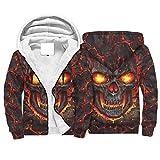 Knowikonwn Mens Horror fuego lava cráneo polar sudaderas sueltas comodidad casual - cuello redondo otoño Tops blanco s