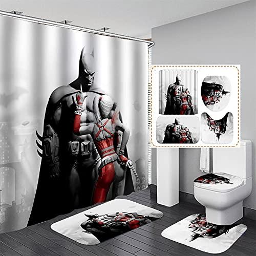 xiemengyangdeshoop Duschvorhang-Batman Und Quinn Fashion Haushalt Hotel Badezimmer Produkte Vierteilige Badezimmermatte 200(B) X180(H) cm