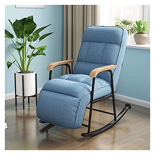 DGDF Rocking Chair Fabric European Modern Balcony Armchair Living Room Furniture Lazy Sofa Recliner Bedroom Lounge Chair,Blue