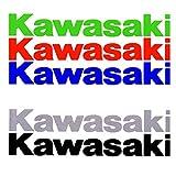 Kit 2/4/6 pegatinas Vinilo KAWASAKI, 20CM, varios colores disponibles, especial rotulacion con papel transportador incluido (Azul, 2 unidades)
