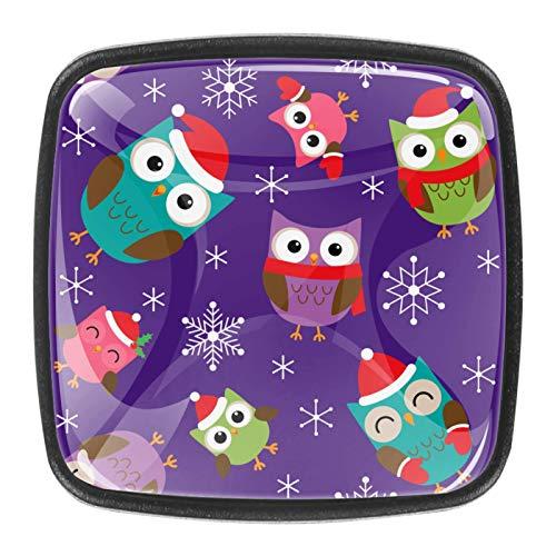 4 pomos para gabinetes de cocina, bonitos tiradores cuadrados de cristal transparente con tornillos para cocina, aparador, armario, baño, armario, armario, lindo búho de Navidad