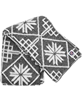 ICEWEAR Varmi 100% Wool Nordic Snowflake Knit Design Outdoor Throw Blanket Grey