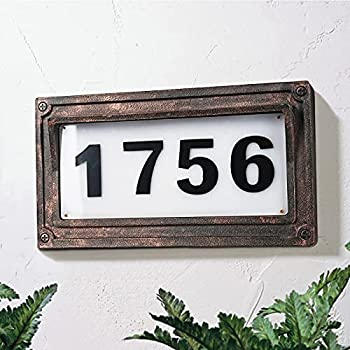 Solar Powered House Numbers Address Sign LED Outdoor Plaque Lighted Up for Home Yard Street.