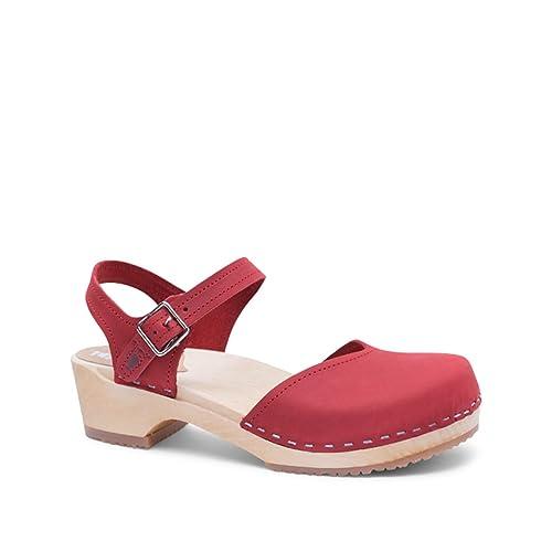 33176408589 Sandgrens Swedish Wooden Low Heel Clog Sandals for Women