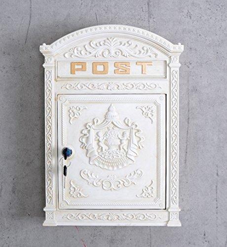 Historischer Wandbriefkasten, Briefkasten, Briefbehälter, Eisenbriefkasten, Kasten im Stil der Gründerzeit aus Gusseisen in Weiß - Palazzo Exclusive