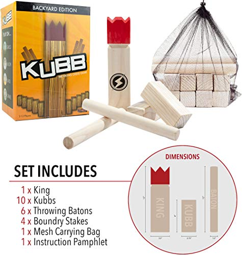 Striker Games Kubb Lawn Game - Outdoor Games - Party Games - Strategic Fun