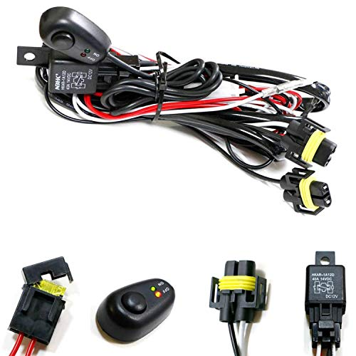 iJDMTOY (1) H11/H8 Relay Harness Wire Kit with LED Light ON/OFF Switch Compatible With Aftermarket Fog Lights, Driving Lights, Xenon Headlight Kit, LED Work Lamp, etc
