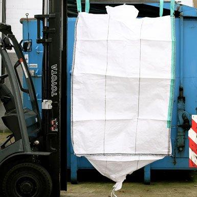 Big Bag 90 x 90 x 110 cm, Schürze, Auslauf 35 x 50 cm, staubdicht, uv-stabilisiert, 4 Hebeschlaufen, SWL 1000 kg, SF 5:1