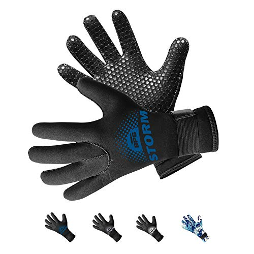 BPS Neoprene 5mm Scuba Diving Gloves with Non-Slip Grip Design for Fisherman, Surfers, Divers, Paddleboarder, Wakeboarder, Swimmer (Black / Snorkel Blue, XXL)
