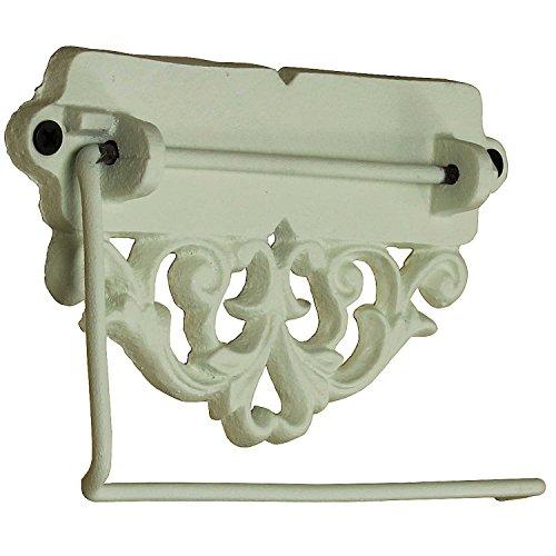 MACOSA SA05116 Vintage Klorollenhalter Antikweiß Klopapier-Halter Landhaus-Stil Deko Badezimmer Toilettenpapierhalter WC Papierrollenhalter Gusseisen