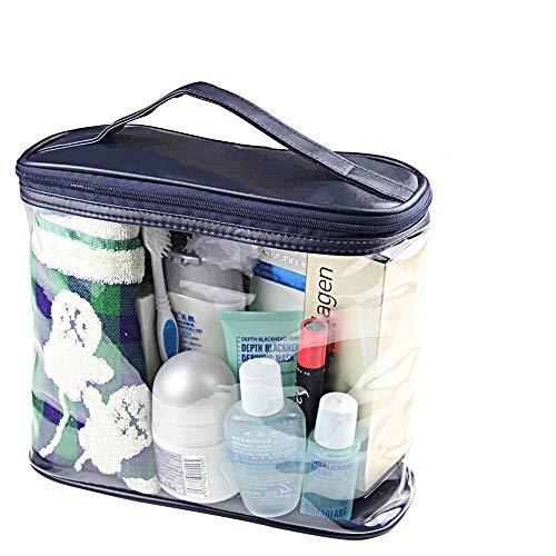 transparents trousse de toilette, sac de divers voyages sac pochette maquillage, cosmétiques et articles de toilette organisateur sac avec top pour les hommes et les femmes, bleu foncé