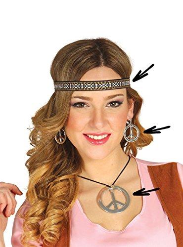 Krause & Sohn Hippie-Set 3-TLG.: Ohrringe Stirnband Peace-Kette Flower Power Party 70er Jahre
