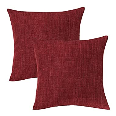 Jeanerlor Lined Linen Solid Decorative Pillow Cover/Euro Sham/Cushion Sham Prime, Velvety and Durable Pillow Cases for Chair - 26 x26  (65 x 65 cm),Burgundy,2 Packs