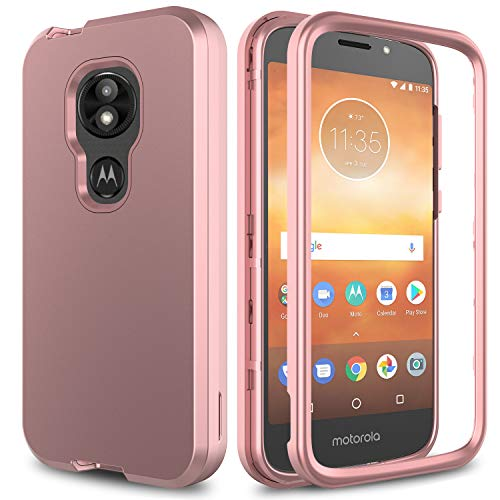 AMENQ Moto E5 Cruise Case, Moto E5 Play/Moto E5 Go Case Heavy Duty Shockproof with Rugged Hard PC and TPU Bumper Protective Armor Phone Cover for Motorola Moto E Play (5th Gen) 2018 (Rose Gold)
