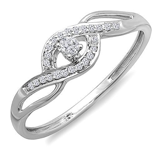 Dazzlingrock Collection - Anello da donna in oro 10 carati con diamante taglio rotondo da 0,15 carati e Oro bianco, 7, cod. K1605