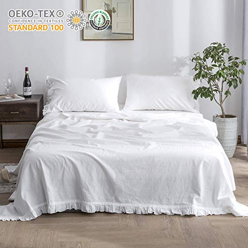 Simple&Opulence Belgian Linen Sheet Set 4PCS Solid Color Ruffles Flouncing(King,White)
