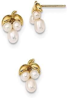 Mia Diamonds 14k Yellow Gold 7-8mm White//Pink Round//Rice FWC Pearl Dangle Earrings