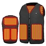 Heated Vest for Men, ZoeeTree Adjustable Washable Heated Vest, USB Charging Heated Jacket with 5 Heating Pads for Hiking Fishing, Fast Heating, Lightweight, Waterproof…