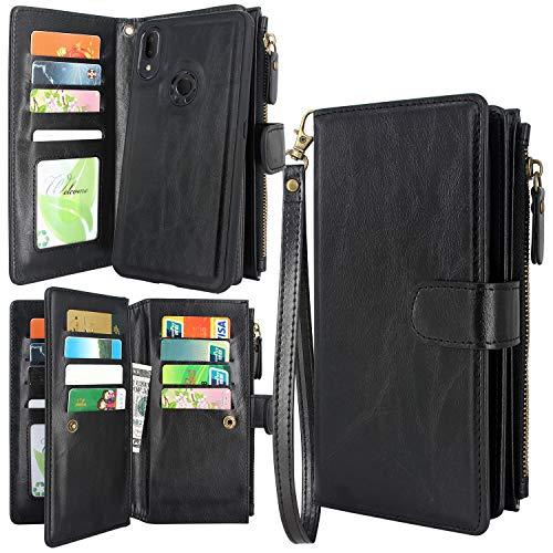 Harryshell Alcatel 3V 2019 Case, Detachable Magnetic Zipper Wallet Leather Case Cash Pocket with 12 Card Slots Holder Wrist Strap for Alcatel 3V 2019 5032W (Black)