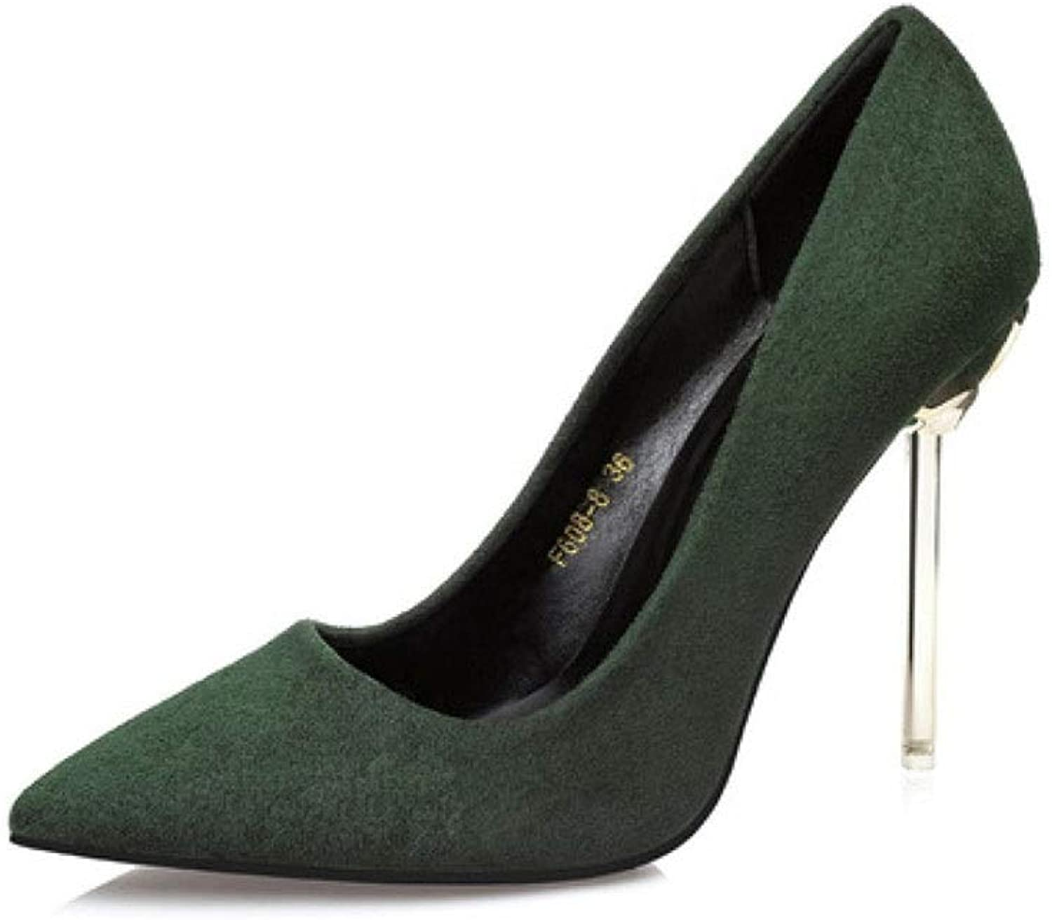 CBDGD High-Heeled shoes Women's Simple Fashion Elegant High Heels Single shoes High Heels Spring and Summer 10CM 4 colors High Heels (color   Green, Size   EU35 UK3 CN34)