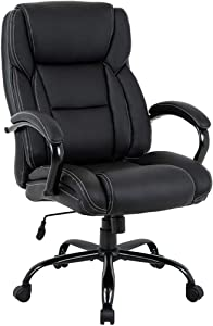 Big and Tall Office Chair 500lbs Desk Chair Ergonomic Computer Chair High Back PU Executive Chair with Lumbar Support Headrest Swivel Chair for Women Men Adults,Black