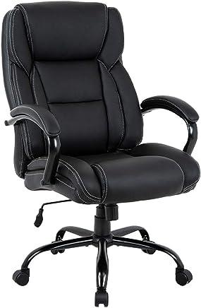 Big and Tall Office Chair 500lbs Cheap Desk Chair Ergonomic Computer Chair High Back PU Executive Chair with Lumbar Support Headrest Swivel Chair for Women Men Adults,Black
