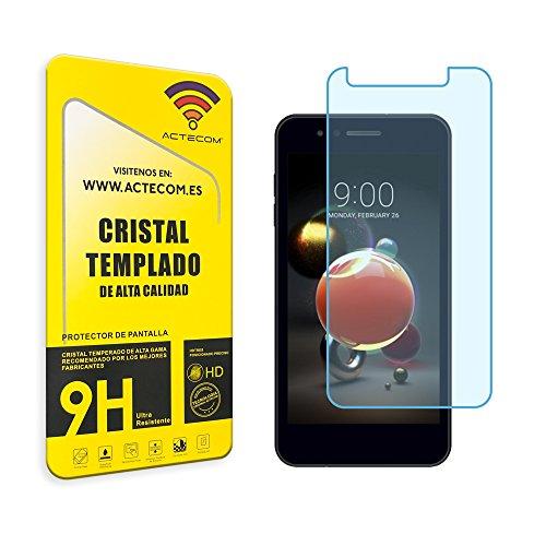 actecom® Cristal Templado Protector Pantalla 9h 2.5D para LG K9 (K8 2018) Vidrio con Caja