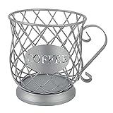perfk Porta cialde per caffè, filo di ferro portaoggetti per caffè di grande capacità organizzatore per carosello, cestello per caffè, argento