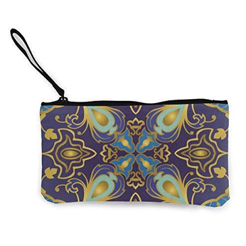Orientalische dekorative goldene Linien, helles, sattes Blau und Violett, Leinen, Münzgeldbörse, Reißverschluss, kleine Geldbörsen, weiblich, tragbar, große Kapazität, personalisierbar