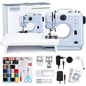 Magicfly Nähmaschine für Anfänger, 12 Stichmuster Mini Nähmaschine für Kinder mit Verlängerungstisch und Fußpedal, Stickmaschine Nähmaschinen für Haushalt, Reisen Blau