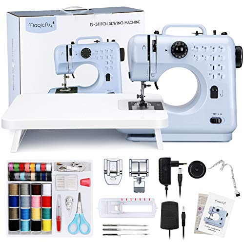 Magicfly Máquina de coser Portátil, Mini Máquinas de Coser con 12 Tipos de Puntadas para Principiantes Niños, Fácil de Usar, Máquina de Coser Eléctrica con Mesa de Extensión, Kit de Costura, Azul