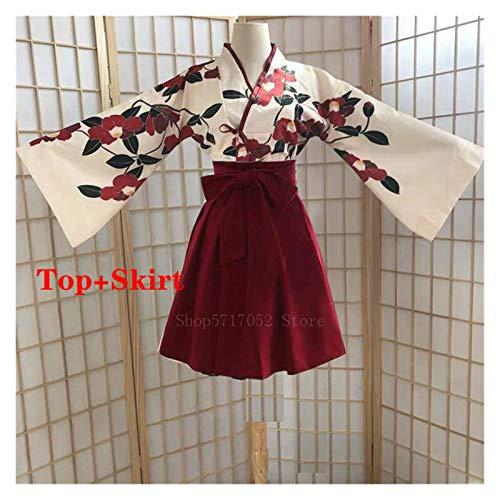 VIAIA Kimono Sakura nia Estilo japons Estampado Floral Vestido Vintage Mujer Oriental Camelia Amor Traje haori Yukata Ropa asitica (Color : Red Short Set, Size : M)