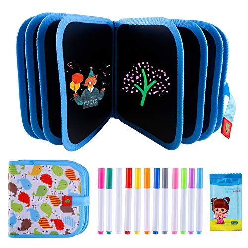 Erasable Doodle Book, Double-Sided Kids' Drawing Writing Boards with 12 Colored...