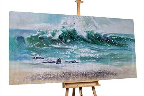 KunstLoft® XXL Gemälde 'Blustery' 200x100cm   original handgemalte Bilder   Meer Strand Welle Petrol   Leinwand-Bild Ölgemälde einteilig groß   Modernes Kunst Ölbild
