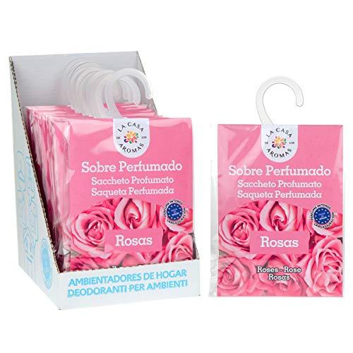 Sobres Perfumados, Bolsitas Aromáticas Aroma Rosas, Saquitos para el Armario, Cajón, Ropa de Bebé, Zapatero, Maleta (Rosas, 12 PCS)