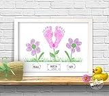 Blumen Bild für Baby Fußabdruck und Eltern Fingerabdruck, individualisierbar, Geschenk zur Geburt