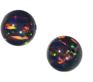 uGems Black Created Opal Round Beads 6mm (2)