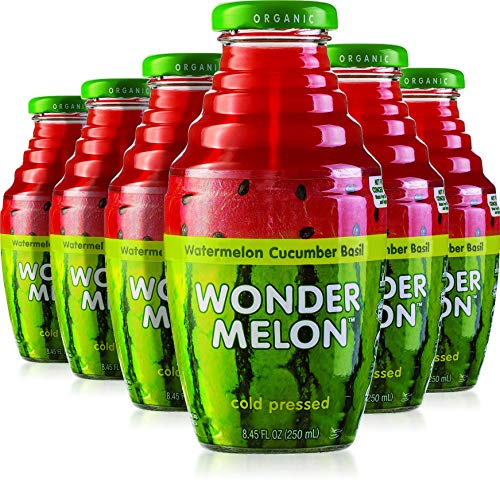 Wonder Melon Organic Watermelon Juice with Cucumber & Basil, 8.45oz (6 Pack) 100% Juice, Cold...