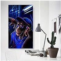 DJミュージックモンキー抽象プリント油絵キャンバスポスターとプリントクアドロスウォールアート写真リビングルーム40x80cm(16x32in)