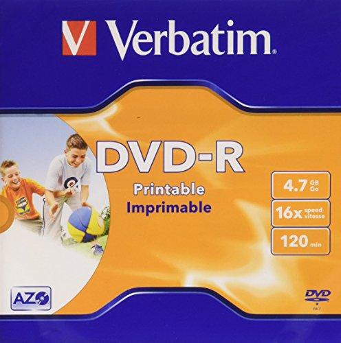 Verbatim DVD-R 4,7 Go Imprimable sur Un Seul côté, Une Seule Couche
