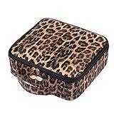 TURMIN Bolsa de maquillaje Bolsa de cosméticos de viaje Estuche de maquillaje para mujeres Organizador de tren portátil con divisores ajustables para herramientas Artículos de tocador Joyería-Leopardo