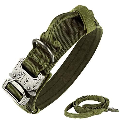 nobrand Taktisches Hundehalsband, Nylon, verstellbar, K9-Halsband, robuste Metallschnalle mit Griff, und taktischer Bungee-Hundeleine, Nylon, verstellbar, Militär-Hundeleine (L, Armeegrün)